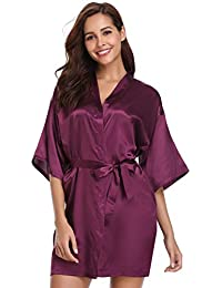 Vlazom Womens Kimono Robes Dressing Gown Satin Bathrobe Nightdress Pure  Colour Short Style with… 97329c96b