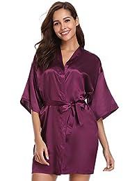9c1e4c05f16 Vlazom Women's Kimono Robes Dressing Gown Satin Bathrobe Nightdress Pure  Colour Short Style with Oblique V