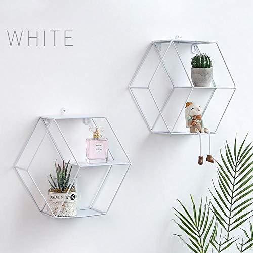 Scaffale da parete in rete di ferro, forma geometrica esagonale, design alla moda, decorazione per soggiorno, scaffali che si muovono avanti e indietro, ripiano in metallo bianco