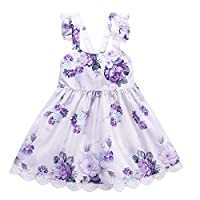 Dhasiue Little Girls Dresses Summer Rainbow Blue Sundress For Toddler Kids Age 1-6 Years, Purple, 4-5 Years