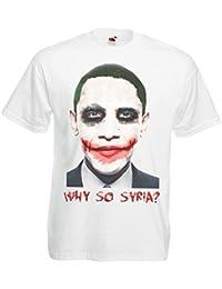 Mens White Why So Syria Funny Obama Spoof T Shirt Joker Makeup