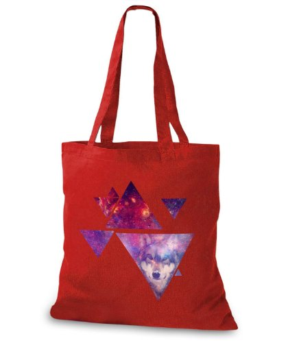 StyloBags Jutebeutel / Tasche Multiple Triangle Wolf Rot