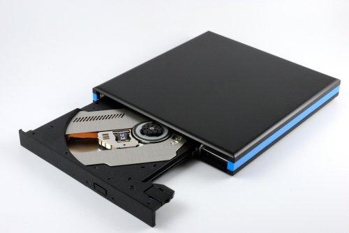 USB 3.0 Blu-Ray BD Brenner Slim Laufwerk Extern BluRay/DVD/CD brennen und lesen für Notebook/Laptop/Ultrabook/PC (Schwarz-Blau)