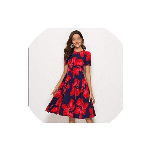 Archiba Frauen-Sommer-Blumendruck reizvolle eine Linie Kleid, rot, L