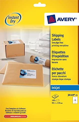 Avery J8169-25 Parcel/Shipping Labels, Self-Adhesive - 4 Labels Per A4