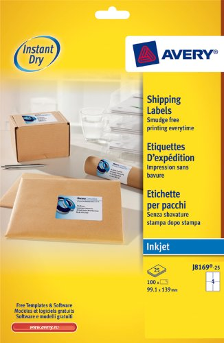 Avery J8169-25 Parcel/Shipping Labels, Self-Adhesive - 4 Labels Per A4 sheet Test