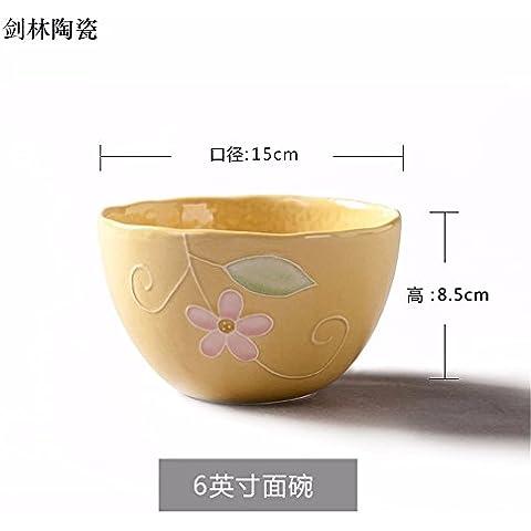 Il riso ciotole di riso bocce di piccole , in ceramica per usi domestici ciotola per mangiare il riso bocce , un singolo giallo ,15*8,5 cm
