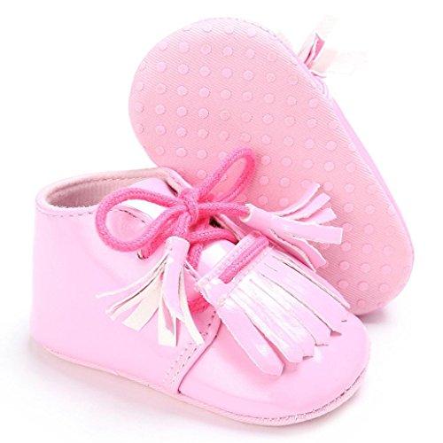 OverDose Baby Neugeborene Troddel Soft Sole Leder Schuhe Jungen Mädchen Kleinkind Krippe Prewalker (0-18Monate) Rosa