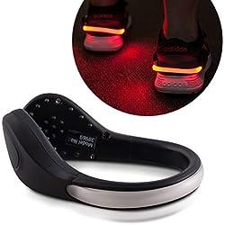 kwmobile 2X Clip LED para Zapatilla - Clips de luz para Zapatillas para Ciclismo Correr Caminar Senderismo - Shoe Clips con Luces en Negro y Rojo