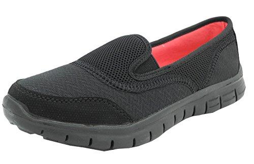 Womens Ladies Elástica Malla Elástico Superlight Slip On Zapatillas Zapatos de Bombas Tama?o 3?4?5?6?7?8, Color Negro, Talla 42 2/3