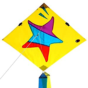 Emmakites Little Star Diamond Kite 80cm with Double Tails and Kite String - Easy to Fly - Kite for Kids and Adults