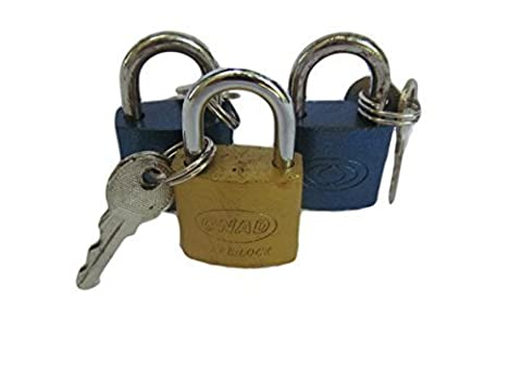 3x small travel padlocks various colours 25mm with 2 keys each by Fat-catz-copy-catz