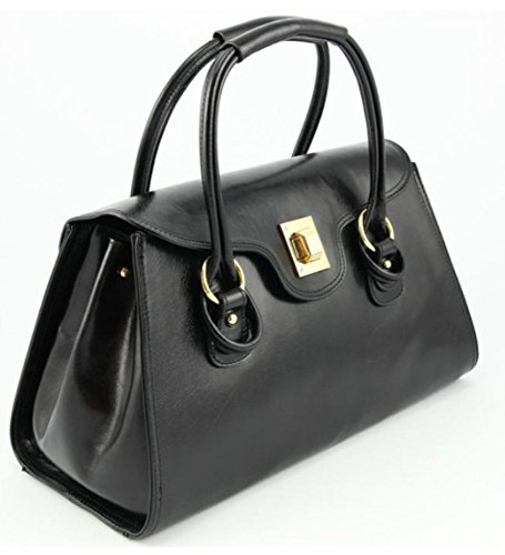SUPERFLYBAGS Borsa Bauletto In Vera Pelle Liscia Lucida modello Martina Made in Italy nero