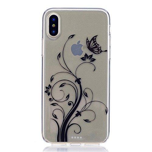 inShang iPhone X 5.8inch custodia cover del cellulare, Anti Slip, ultra sottile e leggero, custodia morbido realizzata in materiale del TPU, frosted shell , conveniente cell phone case per iPhone X 5. Black Butterfly