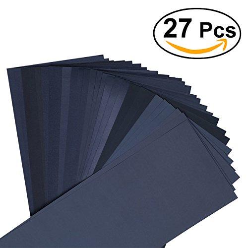 UEETEK Schleifpapier, 27 Stück 400 bis 3000 Trocken/Nassgitter Schleifpapier Sortiment für...