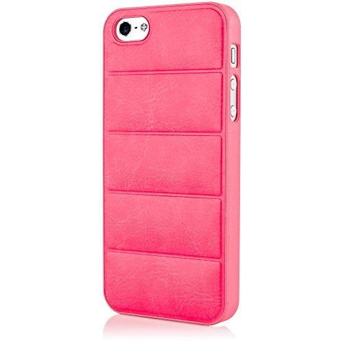 NALIA Handyhülle kompatibel mit iPhone 5 5S SE, Kunstleder Hülle, Stoßfeste Schutz-Hülle Dünnes Hard-Case Handy-Tasche Telefon-Schale, Slim Back-Cover Skin Etui Matt Thin Smart-Phone Bumper - Pink (Ip5 Wallet)