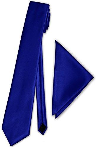 Herren Schmale Satinkrawatte mit Einstecktuch Anzug schmale Krawatte Edel Satin 30 Uni Farben NEU (Dunkel Königsblau) - Satin Anzug