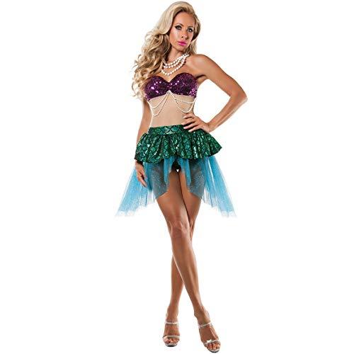 ZSJ~SW Meerjungfrau Kostüm Außenhandel Europäisch und Amerikanisch Damenkostüm Spielkostüm Bühnenkostüm Rollenspiel Halloween (Color : Green, Size : M)