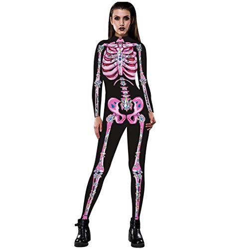 Timogee Damen Halloween Skelettkostüm Druck-Lange Hülsen Dünner Kostüm Overall Karneval Fasching Festival Horror Skeleton Skeleton Geist Kostüm Partei - Pharao Kostüm Geist