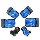 MISS&YG Ginocchiere Kneepad, Pattino di Pattinaggio Protettivo per i Bambini Set Completo di caschi Bicicletta Lungo Skateboard Pattini a rotelle Pattini del Ginocchio,Blue,S(for28~66lbs)