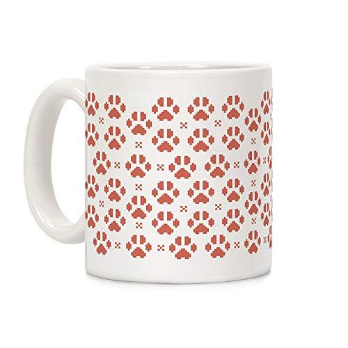 JOJOLASQ Pixel Kitty Cat Paw Prints White 11 Ounce Ceramic Coffee Mug -