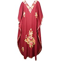 Mogul Interior Women Kaftan Maxi Dress Red Cotton Floral Embroidered Boho House Caftan One Size