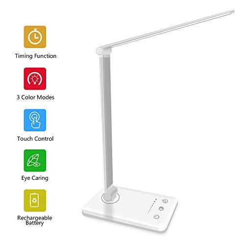 AUELEK Lámpara Escritorio LED, Lámparas de Mesa USB Recargable con Temporizador 2000mAh Flexo Luz con Diseño Giratorio/Control Táctil/ 3 Brillos/ 5 Colores (Plata)