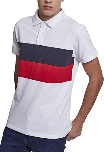 Urban Classics Herren Pullover Color Block Panel Poloshirt, Weiß (White/Navy/Fire Red 0124 Preisvergleich