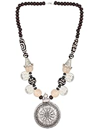 Aradhya Designer Statement Necklace Silver For Women And Girls