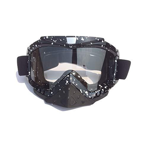 Fahrradbrille Klar Motocross Helmbrillen Mit Winddichter Brille Skibrille Rennbrille Black White Transparent Damen Herren