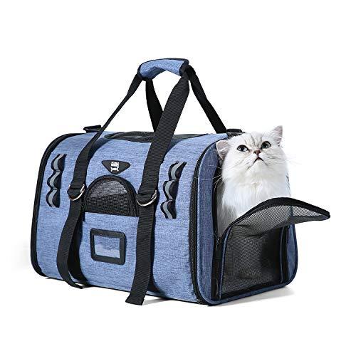 NOBLE DUCK Hundebox Faltbar Katzenbox Transportbox Auto Fluggesellschaft Genehmigt Transporttasche für Haustiere mit Zwei Vlies-Matten Blau