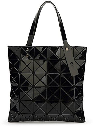 yaagle-women-leather-rhombus-grid-metallic-color-tote-bag-handbag-rubiks-cube-fashion-girl