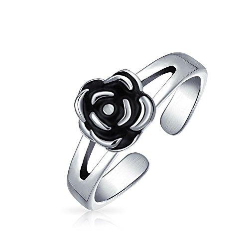 Schwarze Rose Blume Wollte Midi-Splitmodus Band Zehe Ringe Für Damen Oxydiert 925 Silber Sterling Einstellbar
