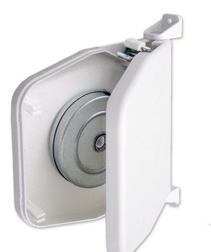 Schellenberg 50151 Gurtwickler Aufputz, weiß/ Aufschraubwickler 14 mm ohne Gurt / Mini Rolladenwickler, aufklappbar, 180° schwenkbar / Lochabstand zur Befestigung: 15,5 cm