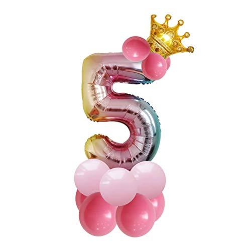 rtstag Ballon Säulen Jubiläum Ballon Ständer Aluminium Folie Ballon Krone Dekoration allochroische Ballon Party Supplies (Zahl fünft) ()