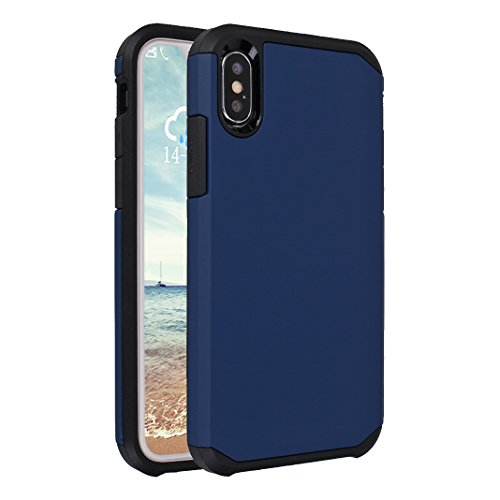 iPhone X Case Armor, iPhone 10 Hülle Armor mit Stand, iPhone X Hard Case, Moon mood® Reifen Striped Handy Fall 2 in 1 Hybrid Armor Schutzhülle für Apple iPhone X / iPhone 10 5.8 Zoll Hart PC + Weich T Blau