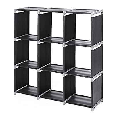 Songmics 9 Compartments Standing Storage Rack Shelving Organizer Units, Capacity/shelf:15 kg, Black LSN33H - cheap UK light store.