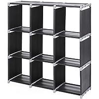 Songmics Armario modular Estantería Librería de 3 niveles 9 Cubos 105 x 30 x 105 cm Negro LSN33H