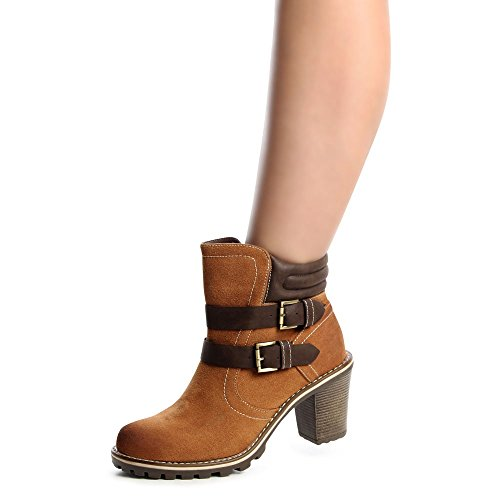 topschuhe24 643 Damen Stiefeletten Ankle Boots Blockabsatz Camel