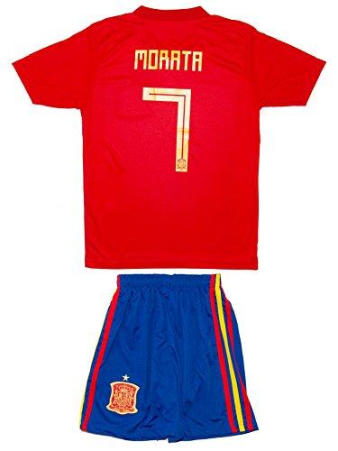 Spanien Heim Fußball Trikot (Spanien Morata #7 2018 Heim Trikot und Shorts Kinder und Jugend Größe)