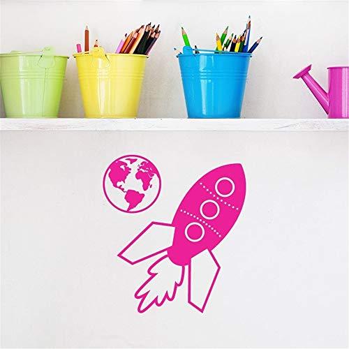 stickers muraux prenom moto Rocket Space Ship And Earth pour chambre d'enfants chambre de garçons