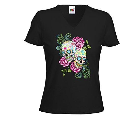 Mexican Damen T-Shirt Skull Pink Roses Gothic Rockabilly V8 Muertos Schwarz
