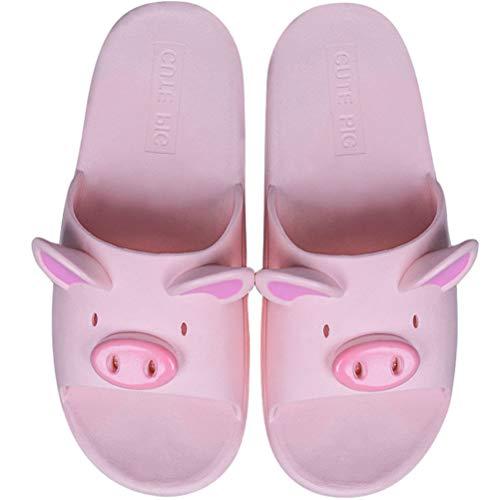 BIUU Paar Hausschuhe Sommer Cartoon Schwein Pantoffeln Damen PVC Sandalen Und Hausschuhe Geeignet Für Badezimmer, Gärten, Strände,Pink,36/37 (Schweine-hausschuhe Mädchen Für)