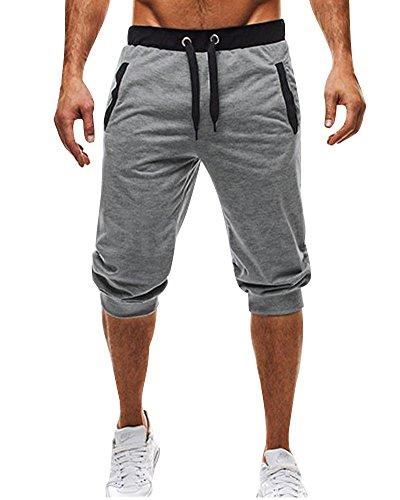 Tomwell Hommes Shorts de Sport Bermudas Cargo Outdoor Casual Lâche avec Poche Running Jogging Fitness Pantalon Court avec Cordon Gris EU XX-Larg