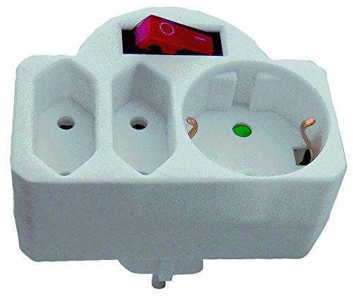 Bayram® Zwischensteckdose, Stecker mit Schalter Schuko Steckdose Euro Kindersicherung (mit Schalter) (Stecker Steckdose)