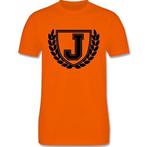 Anfangsbuchstaben - J Collegestyle - Herren Premium T-Shirt Orange