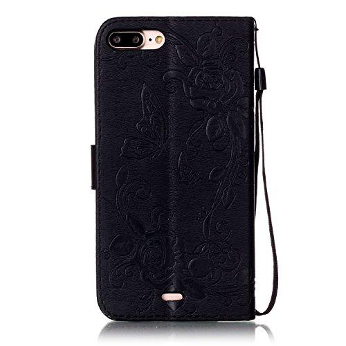 Wkae Case Cover Petit Décor Shing Rhinestone Case Embossed Fleurs PU Case en cuir Portefeuille avec dragonne pour iPhone 7 plus by DIEBELLEU ( Color : Pink , Size : Iphone 7 Plus ) Black