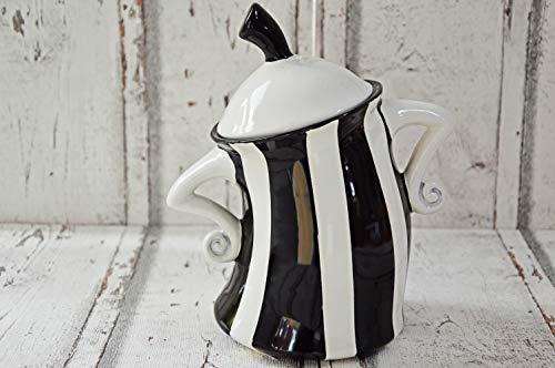 Tanzende Keksdose, schwarz/weiss gestreift, 800ml aus Keramik