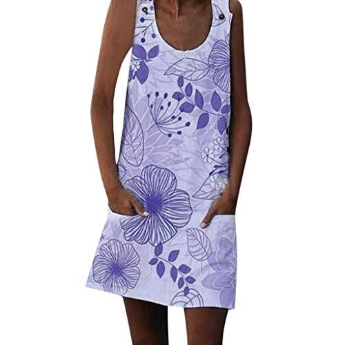 XuxMim Damenmode lose beiläufige gedruckte ärmellose Taschen-Sommerkleid(Lila,XX-Large)