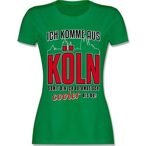 Städte - Ich komme aus Köln - tailliertes Premium T-Shirt mit Rundhalsausschnitt für Damen Grün